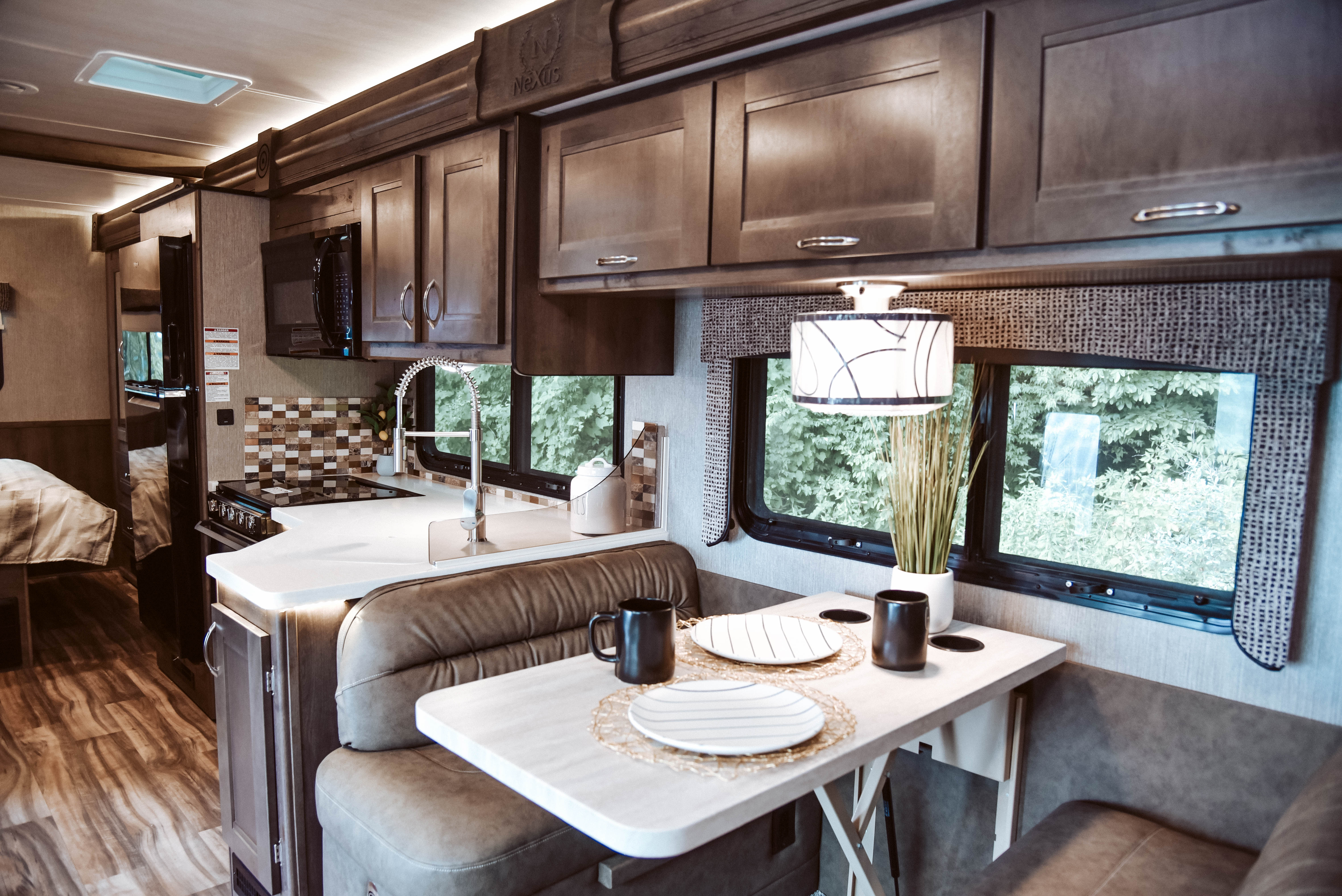 Interior of RV kitchen dinette