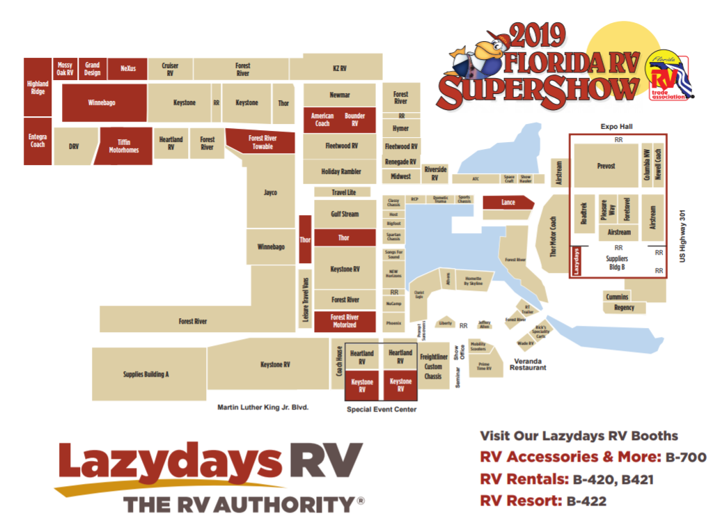 2019 Florida RV Supershow Map