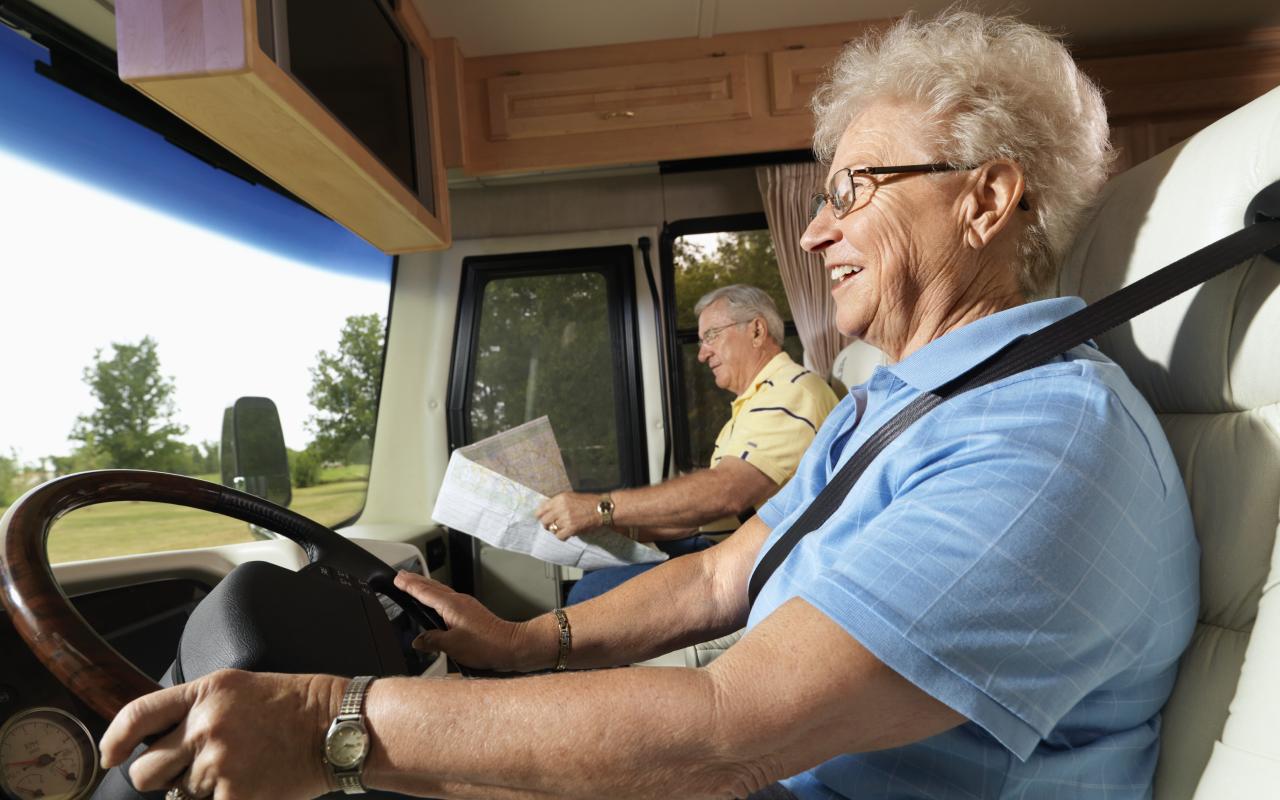 Senior driving an RV with RV license