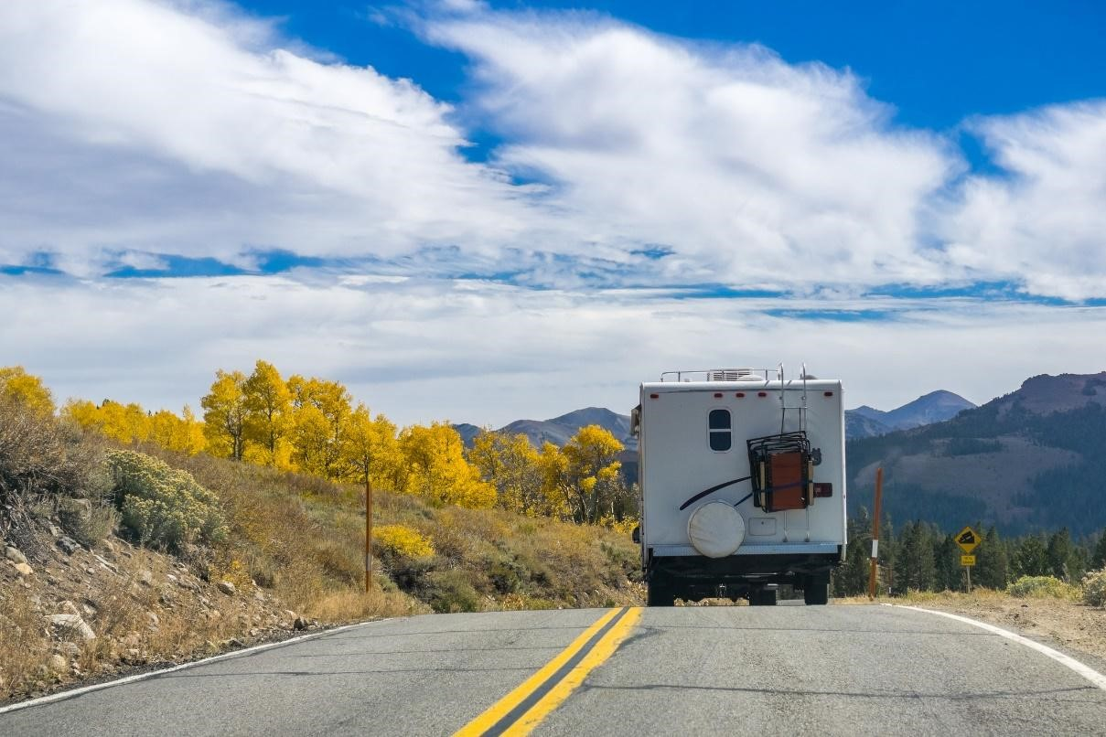 RV open road fall blue sky midwest