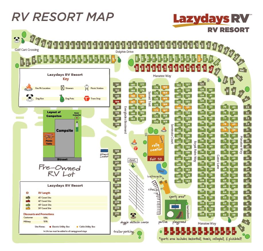 Florida Rv Parks Map Tampa RV Resort Map | Lazydays RV in Tampa, Florida