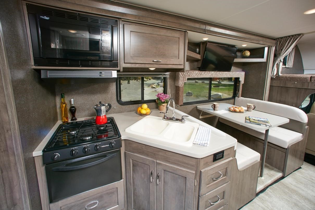 Interior shot of an RV kitchen