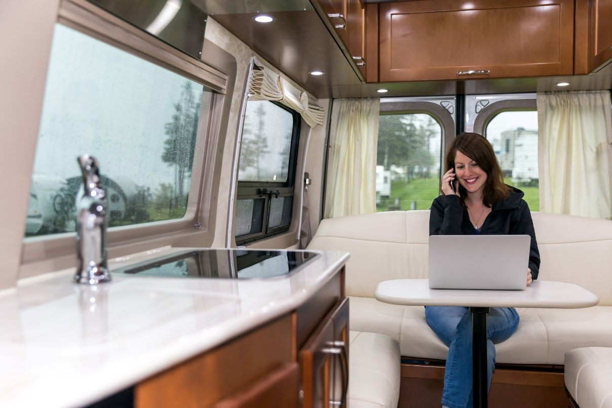 Woman working in an RV office