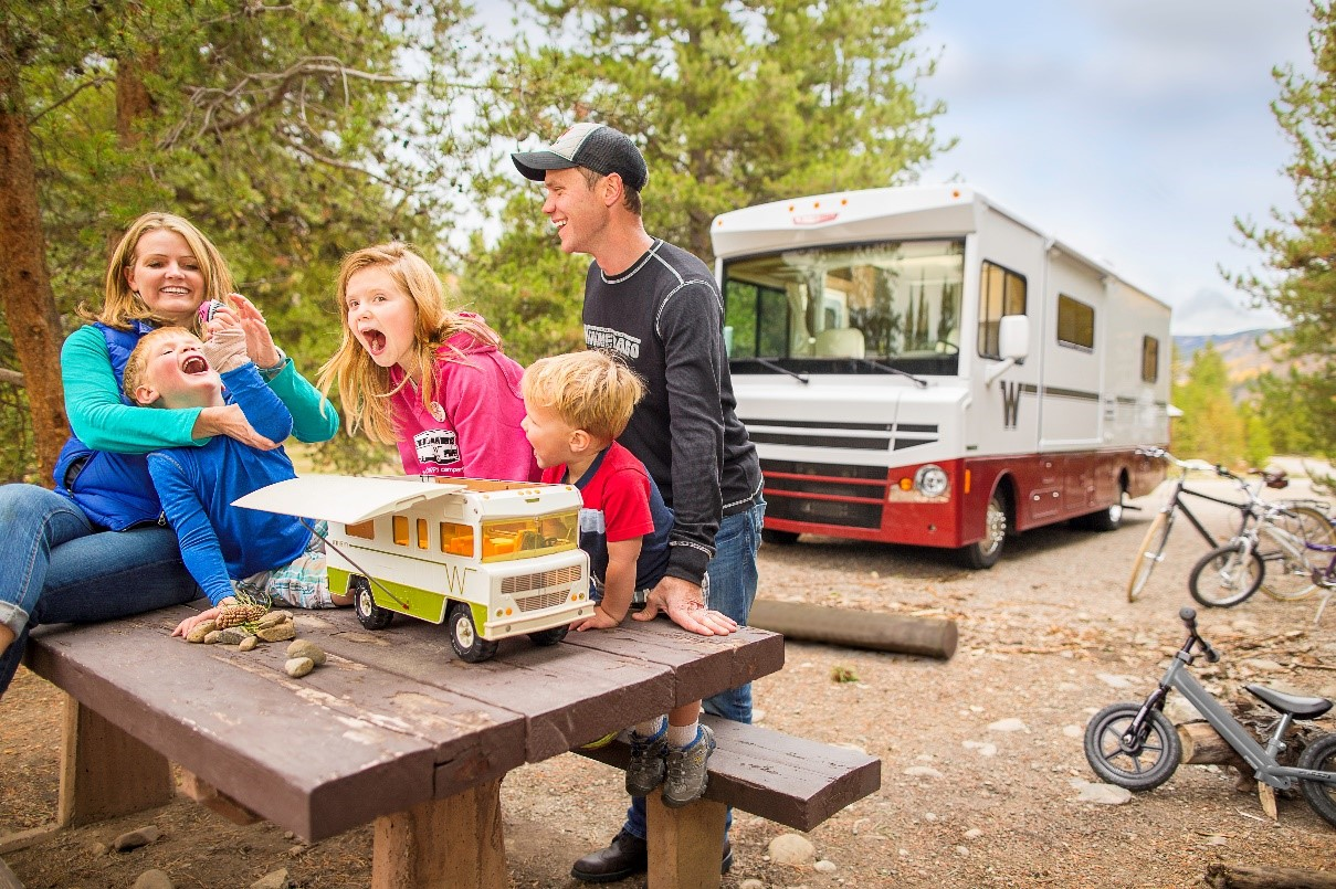 Family enjoying an RV vacation
