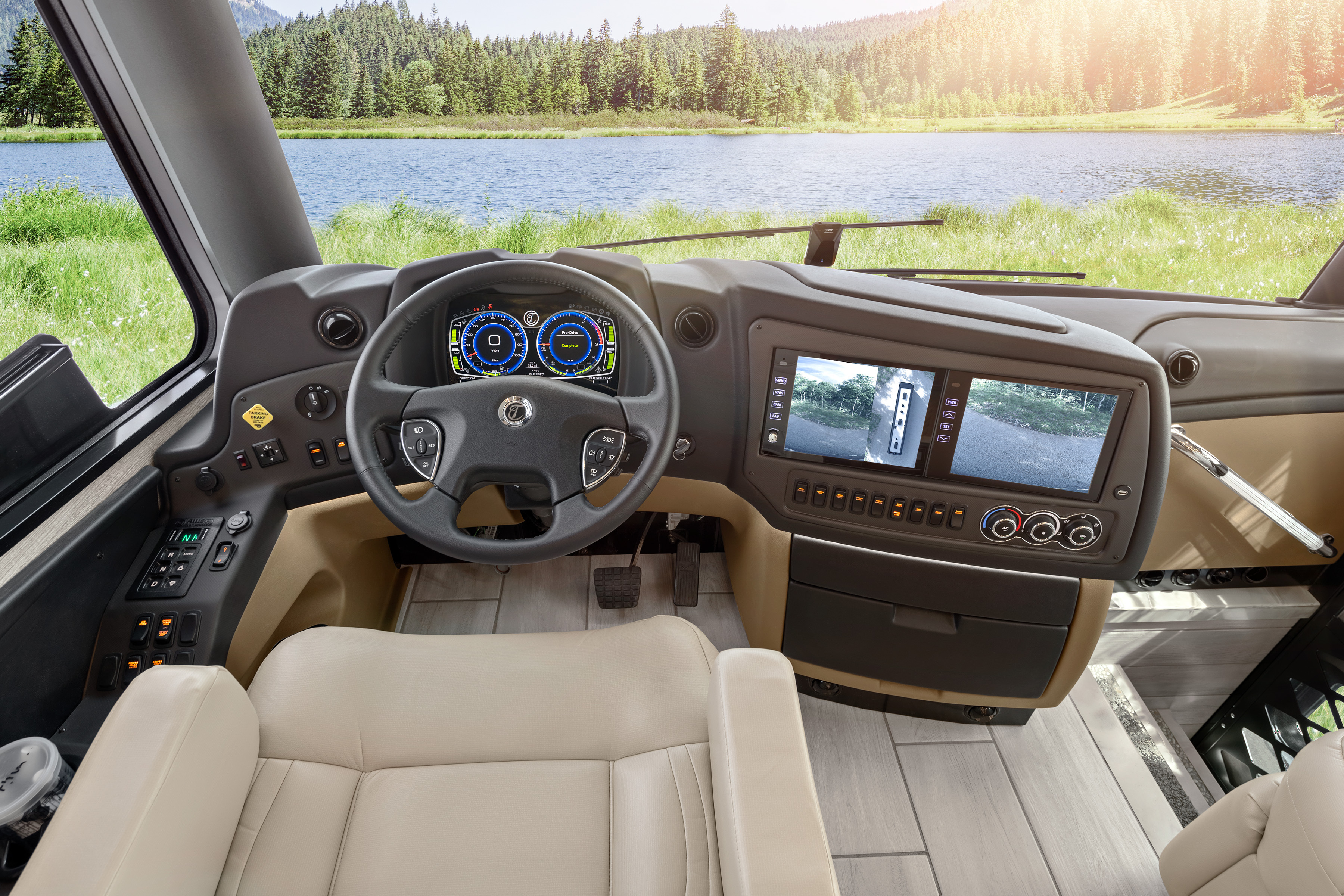 RV driver's seat with steering wheel